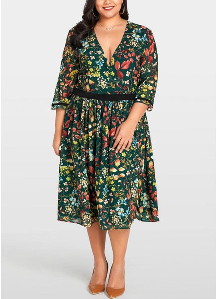 B| Chicloth 2xl Women Plus Size Chiffon Dress Floral Print Midi Dress