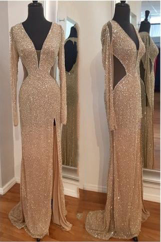 A| Chicloth 2019 Sequins Long Sleeves Sheath Prom Dresses Sheer Hollow Back Side Slit Sexy Evening Gowns-Prom Dresses-Chicloth