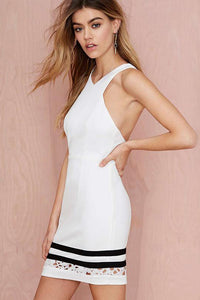 Chicloth Halter Backless Little White Dress - Chicloth