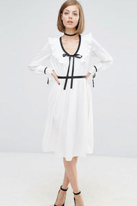 Chicloth Ruffle neck White Shirt Dress - Chicloth