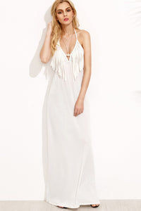 Chicloth Tassel White Maxi Dress