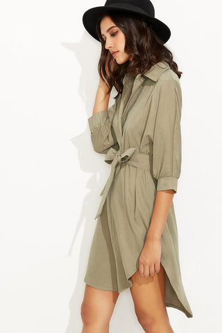 Chicloth Asymmetrical Shirt Dress - Chicloth