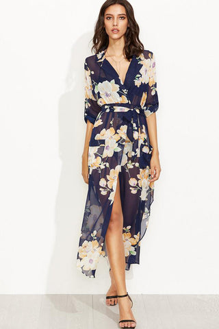 Chicloth Sexy V-neck Floral High Low Dress - Chicloth