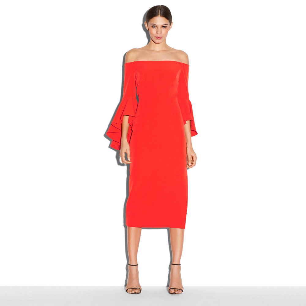Chicloth Hot Red Off The Shoulder Dress-Chicloth