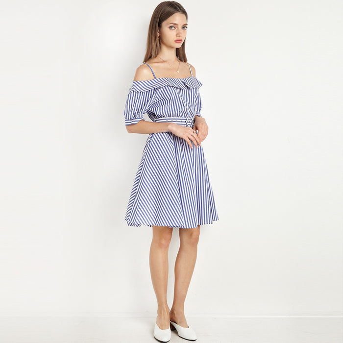 Chicloth Off The Shoulder Striped Shirt Dress-Chicloth