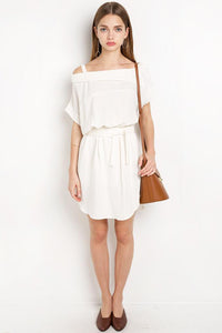 Chicloth Off the shoulder Sweet White Dress-Chicloth
