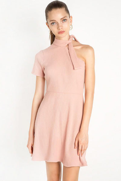 Chicloth Pink One shoulder Mini Dress - Chicloth