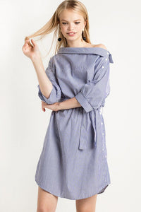 Chicloth Blue Striped Shirt Dress - Chicloth