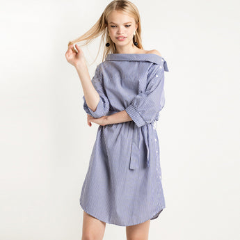 Chicloth Blue Striped Shirt Dress