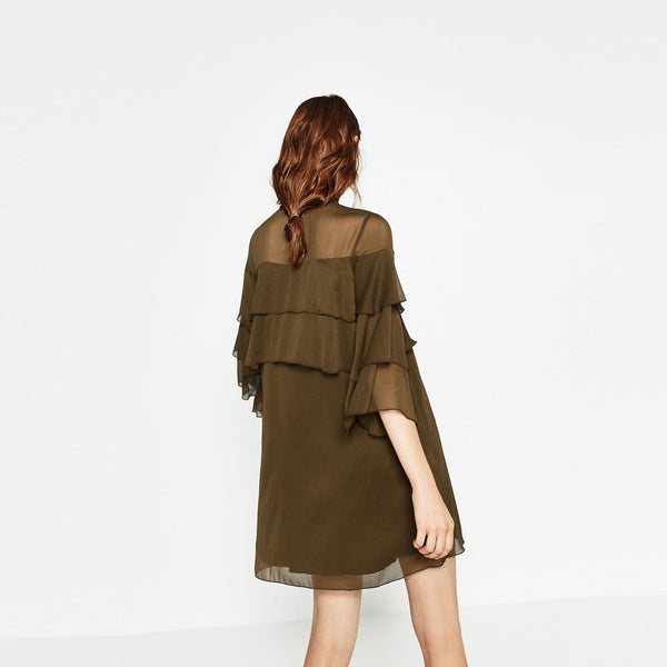Chicloth 1/2 Sleeve Green Shirt Dress with Ruffle