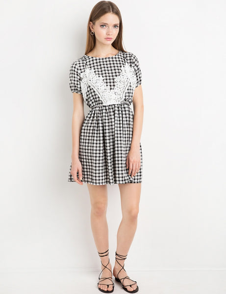 Chicloth Black and White Plaid Dress