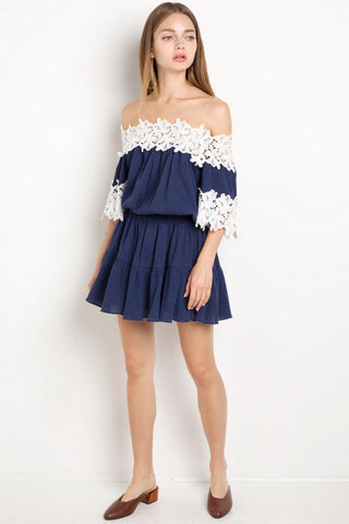 Chicloth Off the shoulder Navy Mini Dress-Chicloth