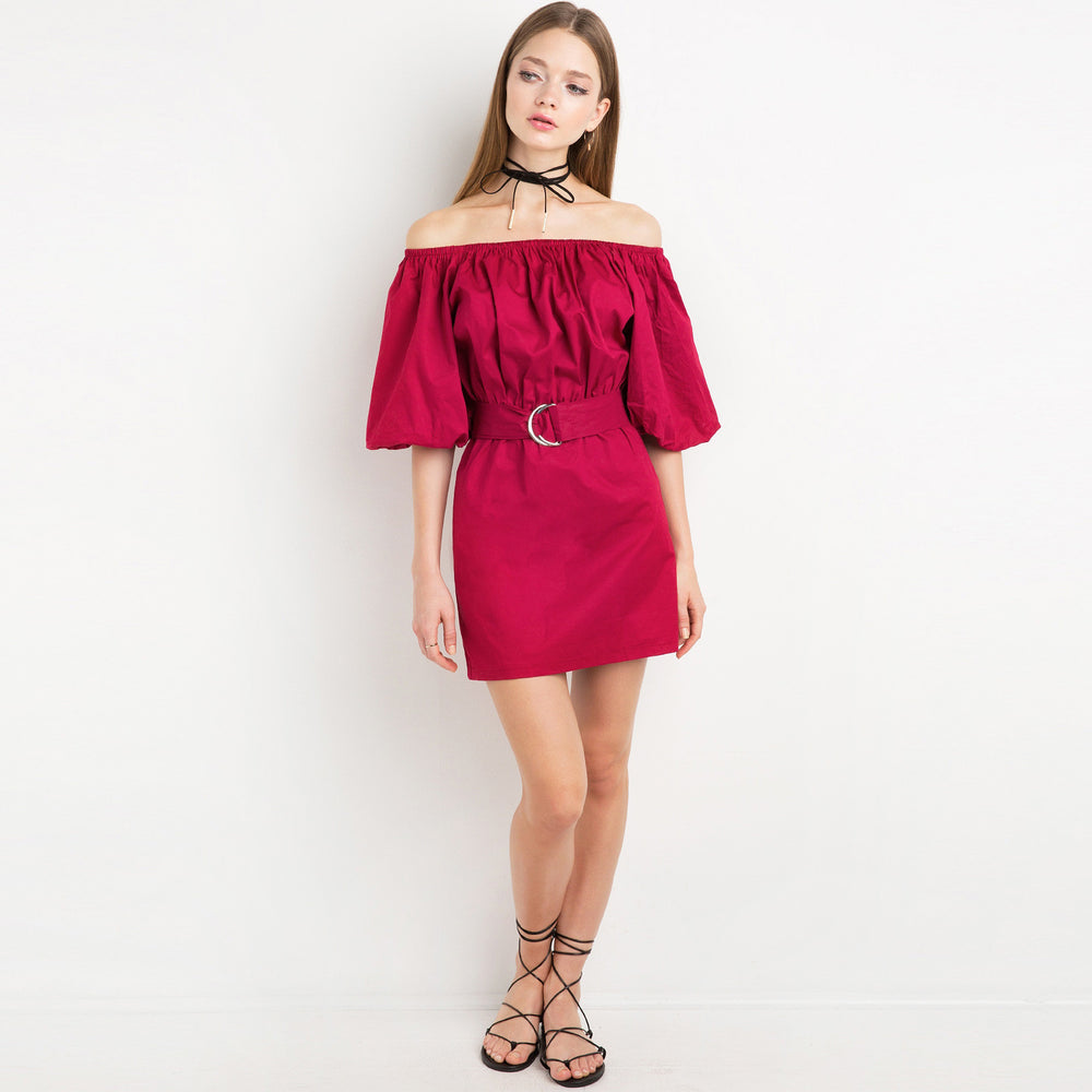 Chicloth Magenta Off The Shoulder Dress-Chicloth