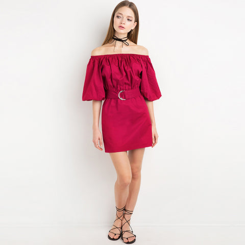 Chicloth Magenta Off the shoulder Dress