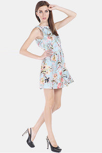 Chicloth Backless Mini Floral Dress - Chicloth
