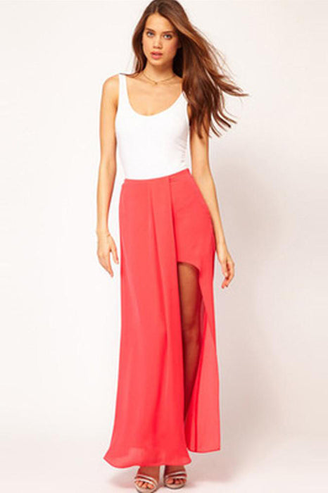 Chicloth Solid color semi-corrugated and double-sided open chiffon skirt-Chicloth