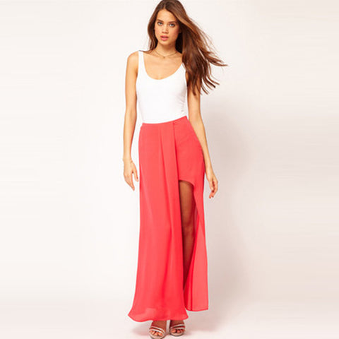Chicloth Solid color semi-corrugated and double-sided open chiffon skirt