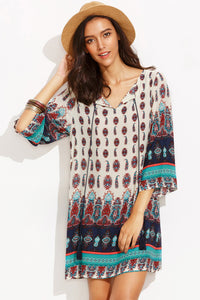 Chicloth Loose style Printed Shift Dress - Chicloth