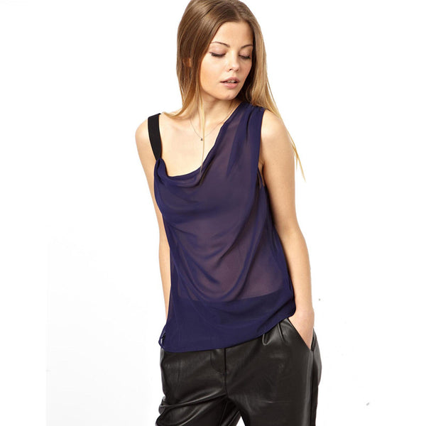 Chicloth One-shoulder See-through Vest