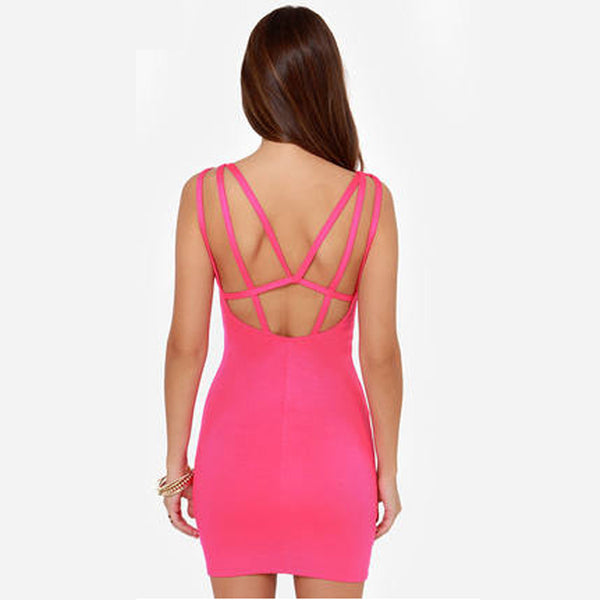 Chicloth Backless Mini length Sexy Bodycon Dress
