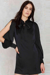 Chicloth Bare Long Shoulder Black Shirt Dress - Chicloth