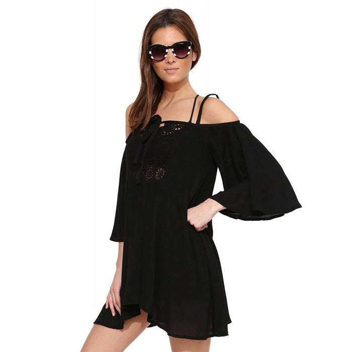 Chicloth Bare Shoulder Off The Shoulder Long sleeve Mini Dress-Chicloth
