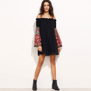 Chicloth Off the shoulder Black Tassel Dress - Chicloth