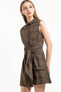 Chicloth Sleeveless Plaid Shirt Dress