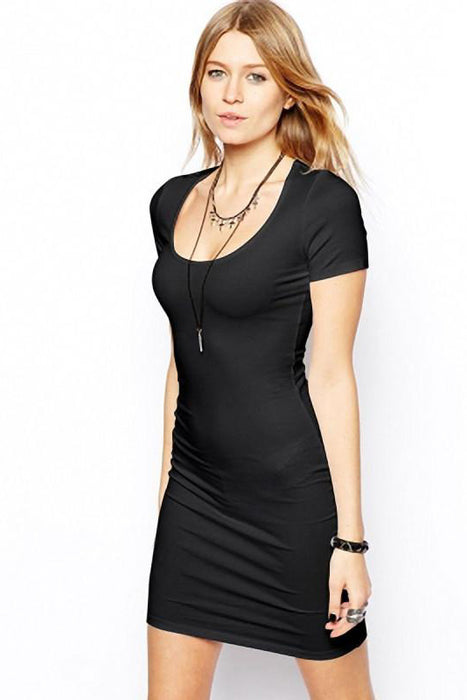 Chicloth Solid color Short Sleeve Bodycon Dress-Chicloth