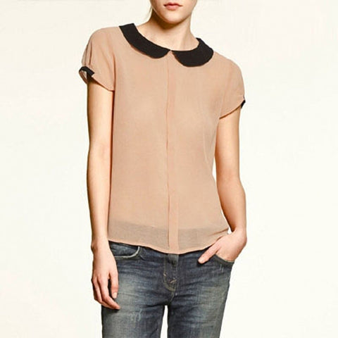 Chicloth Vintage Neck Chiffon Short sleeve Top