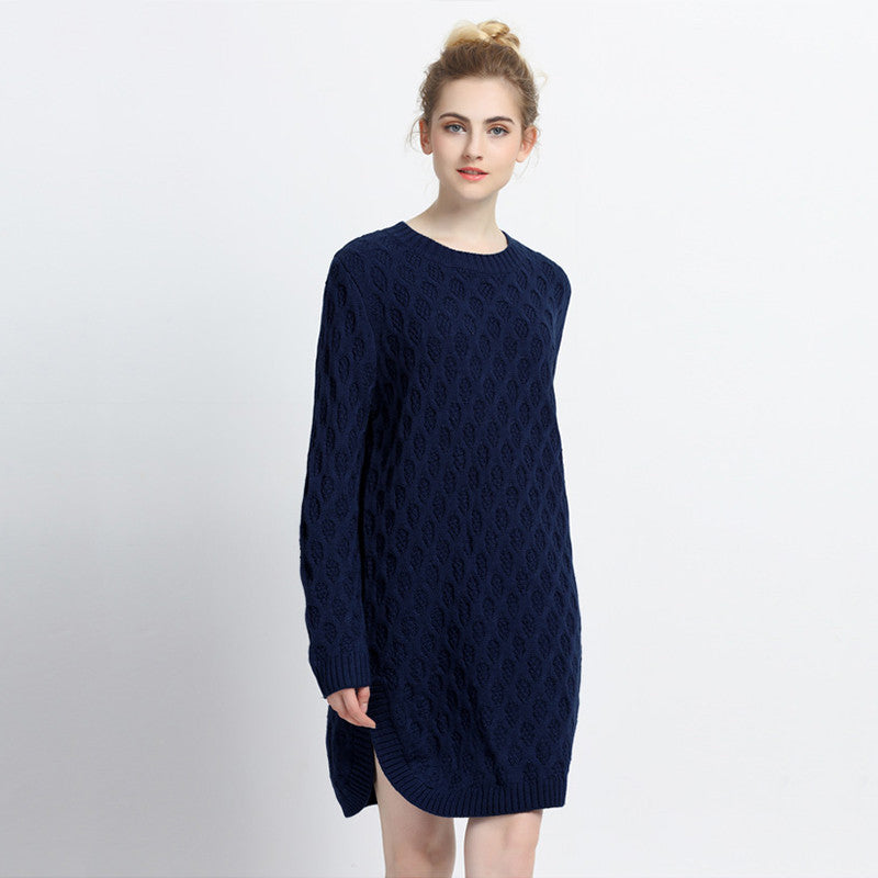 Chicloth Dark Navy Blue Loose Sweater-Chicloth