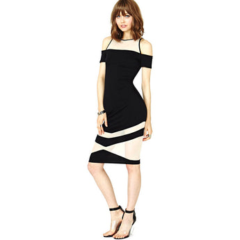 Chicloth Bare shoulder Splice Bodycon Dress
