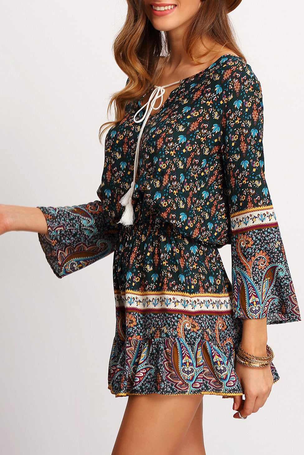 Chicloth Floral Printed Bohemian Dress - Chicloth