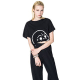 Chicloth Sexy lantern skull print short sleeve loose casual round neck female T shirt