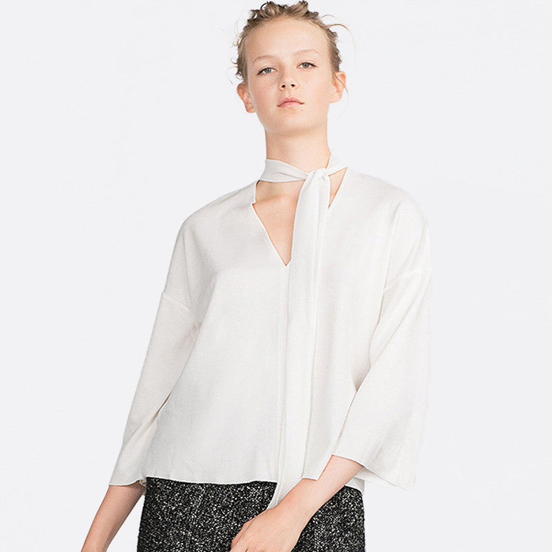Chicloth White V-neck Blouse-Chicloth