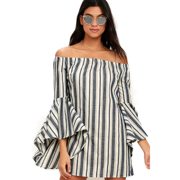 Chicloth Off the shoulder Black and White Striped Dress