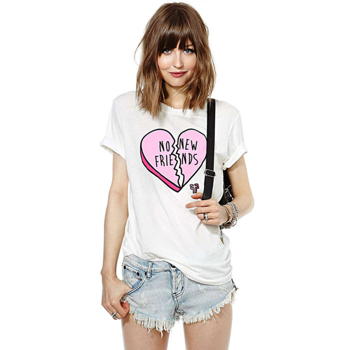 Chicloth No New Friends Heart Printed T-shirt-Chicloth