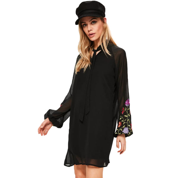 Chicloth  Black Floral Print Long Sleeve Dress