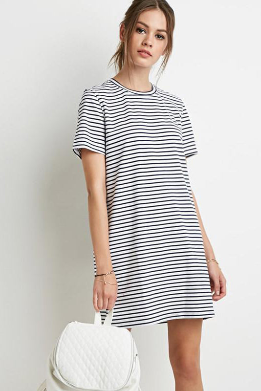 Chicloth Black and white stripes Scoop Neck Dress - Chicloth