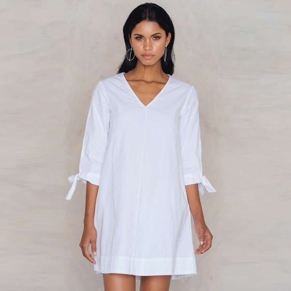 Chicloth V-Neck Long Sleeve T-Shirt Dress