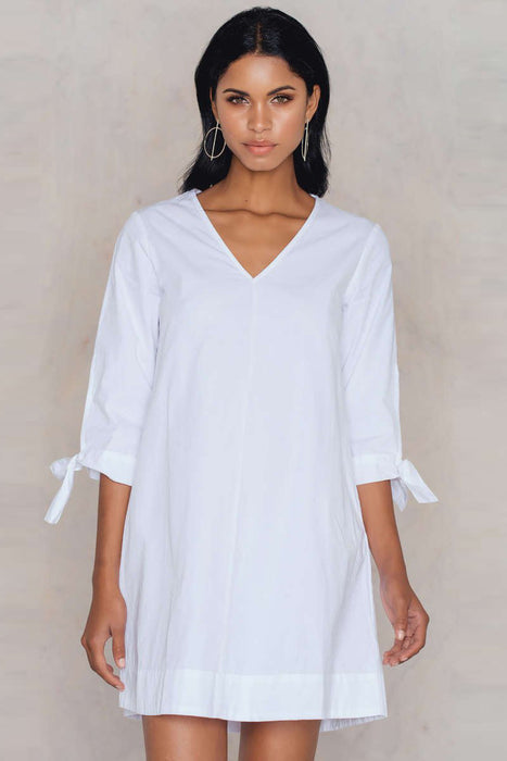 Chicloth V-Neck Long Sleeve T-Shirt Dress-Chicloth