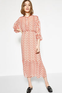 B| Chicloth Watermark Long sleeve Midi Dress - Chicloth