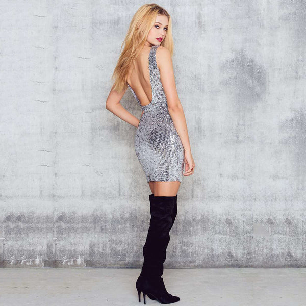 Chicloth Backless Silver Bodycon Dress