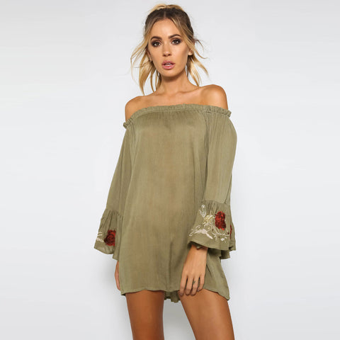 Chicloth  Off Shoulder Long Sleeve Dress