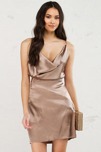 Chicloth Shawl neck Backless Slip Dress - Chicloth