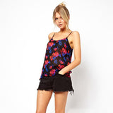 Chicloth Brilliant flower printed with black transparent chiffon sling female vest