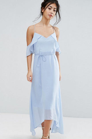 Chicloth Spaghetti Strap Ice Blue Dress - Chicloth