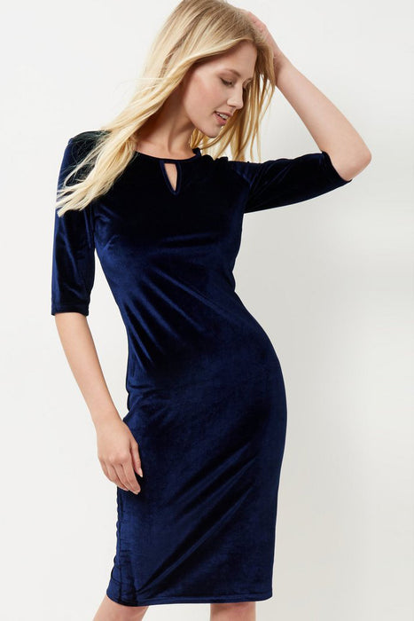 A| Chicloth Navy Blue Half Sleeve Dress-Chicloth