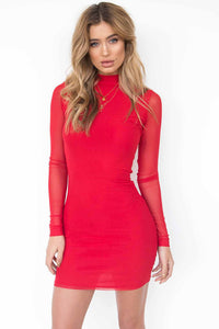 B| Chicloth Four-Colour Long-Sleeved Tulle Slim Dress - Chicloth