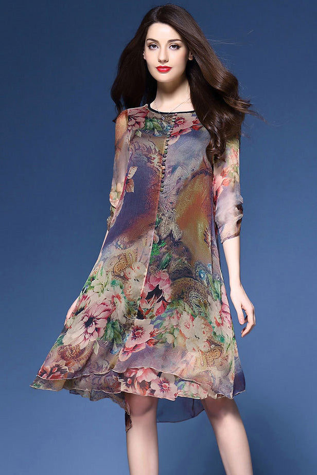 A| Chicloth Floral Print Round Neck Half Sleeves Nylon Mid Dress-Dresses-Chicloth